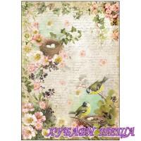 Оризова хартия, А4- DFSA4179- Peach flowers and nests