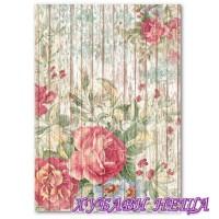 Оризова хартия, А4- DFSA4208- Flowers on wooden background