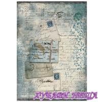 Оризова хартия, А4- DFSA4220- Blue postcards with lace