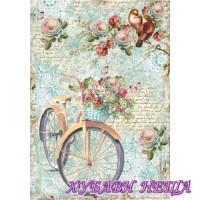 Оризова хартия, А4- DFSA4238- Bike and branch with flowers