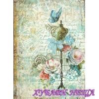 Оризова хартия, А4- DFSA4243- Манекен и пеперуди