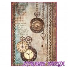 Оризова хартия, А4- DFSA4288- Clockwise clock and keys