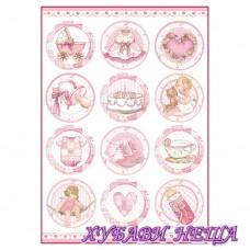 Оризова хартия, А4- DFSA4289- Baby Girl round subjects