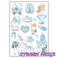 Оризова хартия, А4- DFSA4292- Baby Boy decorations