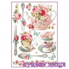 Оризова хартия, А4- DFSA4295- Floral mugs and teapots