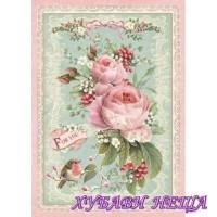 Оризова хартия, А4- DFSA4313- Pink Christmas rose