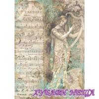 Оризова хартия, А4- DFSA4323- Music Lady with harp