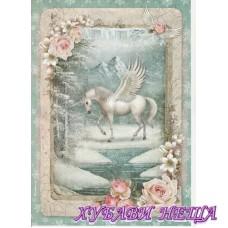 Оризова хартия, А4- DFSA4346- Winter unicorn