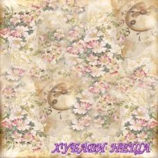 Stamperia оризова хартия 50x50см.- Vintage Clocks Flowers