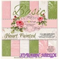 """Дизайнерско блокче 12x12""""- Basic Heart Painted 12 л. двустр"""