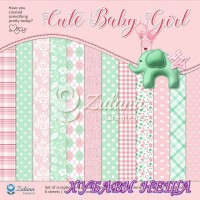 "Дизайнерско блокче 12x12""- Cute Baby Girl 6 листа двустр."