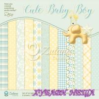 """Дизайнерско блокче 12x12""""- Cute Baby Boy 6 листа двустр."""