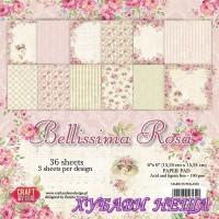 Дизайнерско блокче, 6x6'', Bellissima Rosa, 36листа