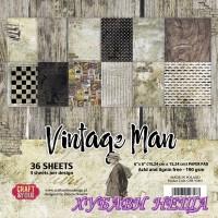 """Дизайнерско блокче, 6x6"""",  """"Vintage Man"""", 36л"""