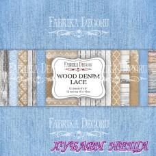 "Дизайнерско блокче, 6x6"", ""Wood Denim Lace"" 12листа двустр."