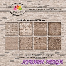Дизайнерско блокче 6 x 6'' Bricks Background / Brown- 32л