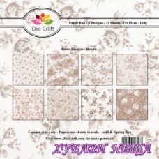 Дизайнерско блокче 6 x 6'' Retro Flowers / Brown- 32л