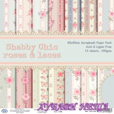 Дизайнерско блокче 20x20 Shabby Chic Roses and Laces- 14листа