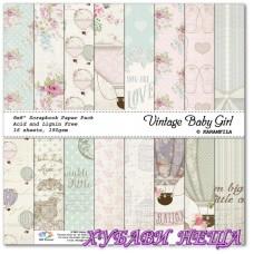 "Дизайнерско блокче, 8x8"", ""Vintage Baby Girl"", 16 листа"
