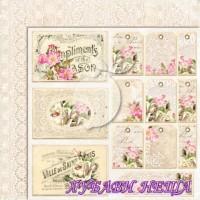 Дизайнерски картон лист 30.5x30.5cm House of roses EXTRA 04 двустр.