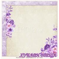 Дизайнерски картон 30.5x30.5cm Violet Silence 04