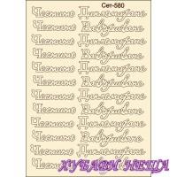 Сет580 К-кт елементи от бирен картон- Честито Дипломиране