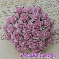 Цветя от Мълбери хартия Рози 15мм Бебешко розово- 10бр