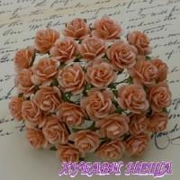 Цветя от Мълбери хартия Рози 15мм Праскова- 10бр