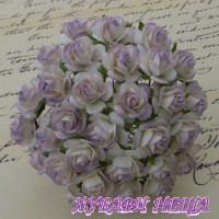 Цветя от Мълбери хартия Рози 15мм 2-Цвята Светло Люляков- 10бр