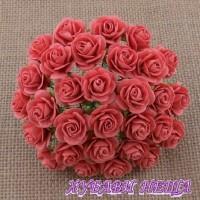 Цветя от Мълбери хартия Рози 15мм Коралов- 10бр