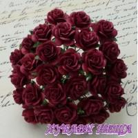 Цветя от Мълбери хартия Рози 20мм Т. червено- Burgundy 5бр