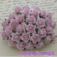 Цветя от Мълбери хартия Рози 20мм Бледо розово- 5бр