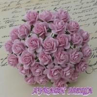 Цветя от Мълбери хартия Рози 20мм Бебешко розово- 5бр