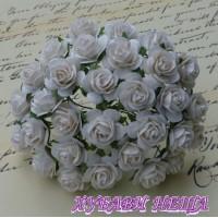 Цветя от Мълбери хартия Рози 20мм Бял- 5бр
