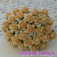 Цветя от Мълбери хартия Рози 20мм Светло оранжево- 5бр