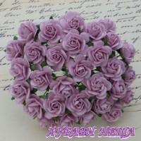 Цветя от Мълбери хартия Рози 20мм Люляков- 5бр