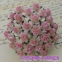 Цветя от Мълбери хартия Рози 20мм Бебешко розово и Слонова кост- 5бр