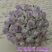 Цветя от Мълбери хартия Рози 20мм 2-Цвята Светло Люляков- 5бр
