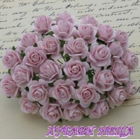 Цветя от Мълбери хартия Рози 25мм Бледо розово- 5бр