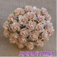 Цветя от Мълбери хартия Рози 25мм Бледо Прасковено- 5бр