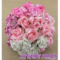 Цветя от Мълбери хартия Дива Роза 40 мм Микс Розово 5 бр