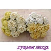 Цветя от Мълбери хартия Чаена Роза 40 мм Микс Бяло / Кремаво 4 бр