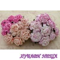 Цветя от Мълбери хартия Чаена Роза 40 мм Микс Розово 4 бр