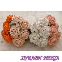 Цветя от Мълбери хартия Чаена Роза 40 мм Микс Праскова / Оранжево 4 бр