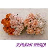 Цветя от Мълбери хартия Кичеста Роза 25 мм Микс Праскова / Оранжево 4 бр