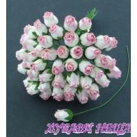 Цветя от Мълбери хартия Розова пъпка 10мм 2-Тона Розово 10 бр
