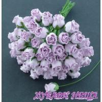 Цветя от Мълбери хартия Розова пъпка 10мм Люляков 10 бр