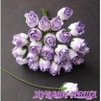 Цветя от Мълбери хартия Розова пъпка 10мм 2-Тона люляков 10бр