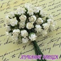 Цветя от Мълбери хартия Розова пъпка 10мм Слонова кост 10бр