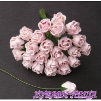 Цветя от Мълбери хартия Розова пъпка 10мм Бледо Розово 10 бр